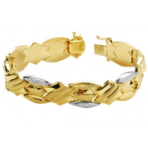 Bransoletka złota satynowana diamentowana