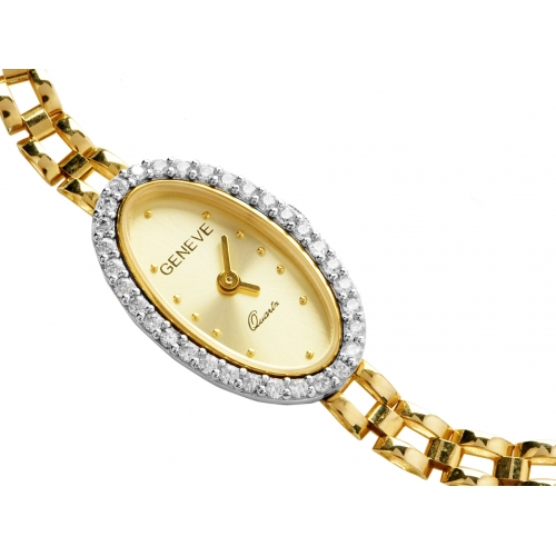Zegarek złoty GENEVE z cyrkoniami