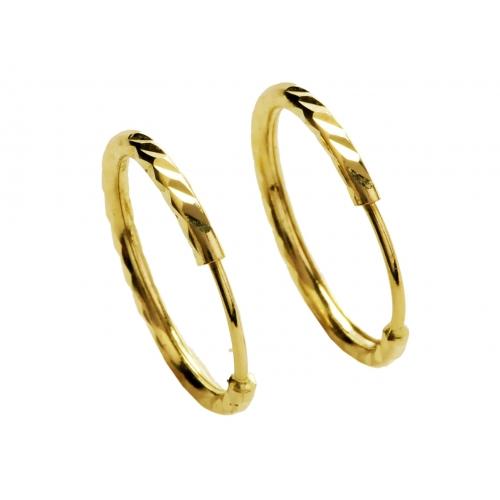 Kolczyki złote koła diamentowane