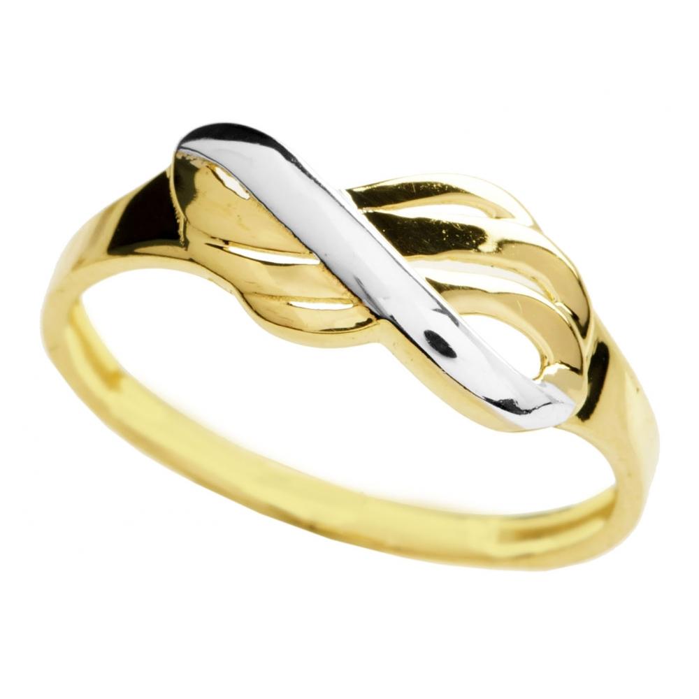 822b6efe7bd7f8 Złoty pierścionek z białym złotem - Chaton Jubiler