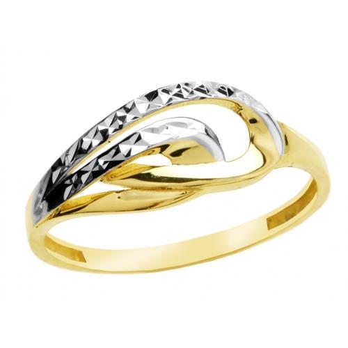 Złoty pierścionek z białym złotem