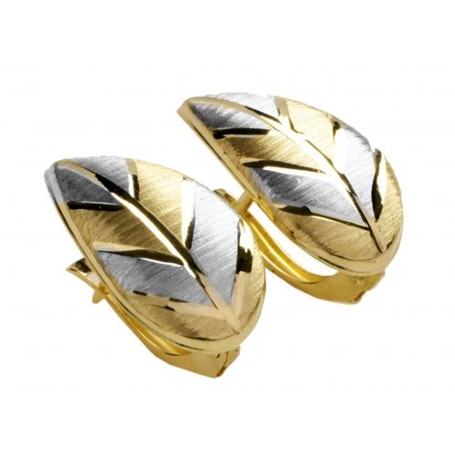 Kolczyki złote diamentowane listki