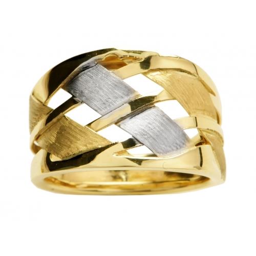 Złoty pierścionek z różowym i białym złotem