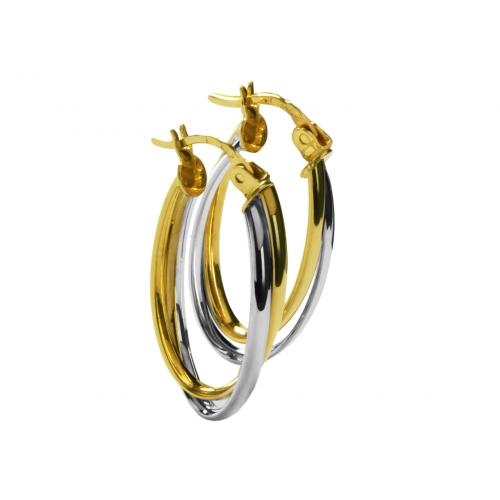 Kolczyki złote białe i żółte złoto