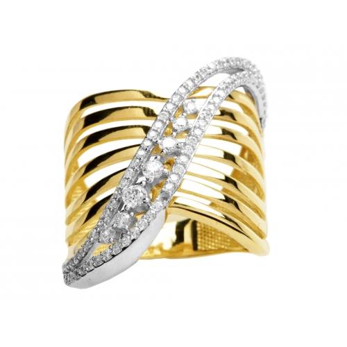 6560c0d7bca806 Złoty pierścionek z cyrkoniami - Chaton Jubiler