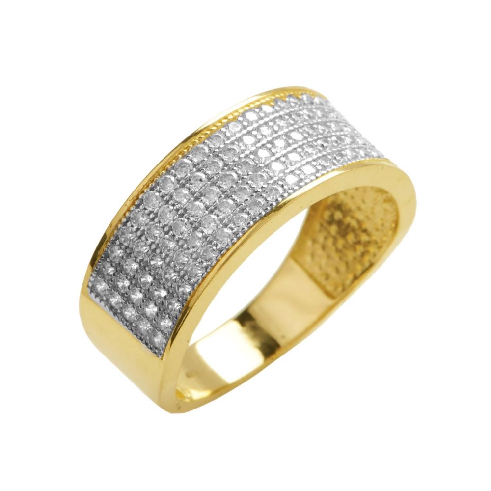 7af859f93b454c Złoty pierścionek obrączka z cyrkoniami - Chaton Jubiler