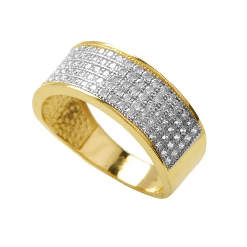 Złoty pierścionek-obrączka i cyrkonie