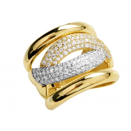 Złoty pierścionek wysadzany cyrkoniami