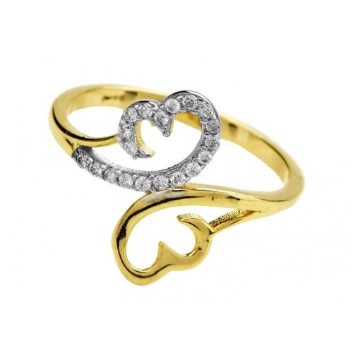 Złoty pierścionek wysadzany cyrkoniami - motyl