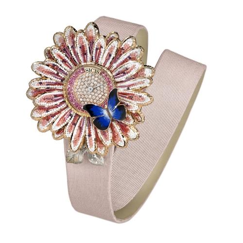 Zegarek złoty SICIS Daisy różowy stokrotka