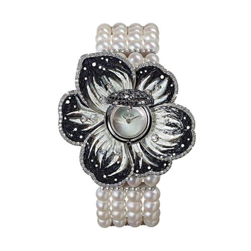 Zegarek złoty SICIS kwiat perły