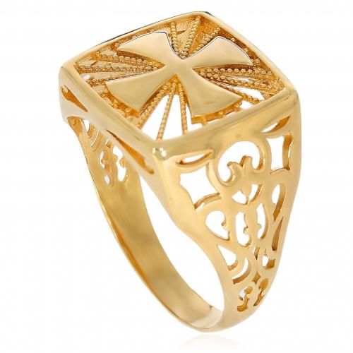 Pierścionek złoty z krzyżem