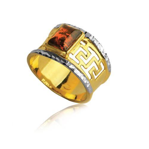 Pierścionek złoty z bursztynem bałtyckim