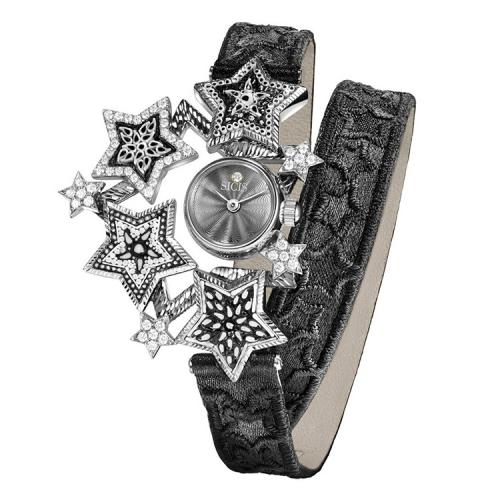 Zegarek złoty SICIS Etoile czarny