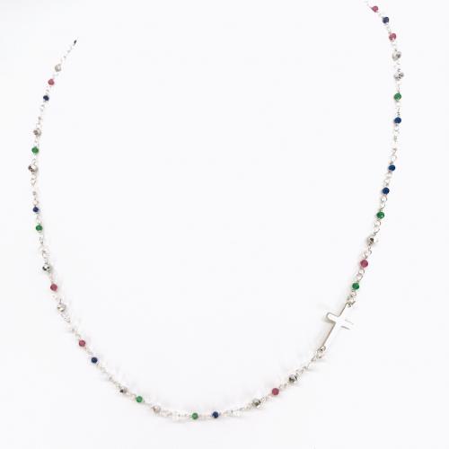 Naszyjnik srebrny z kolorowymi kryształkami