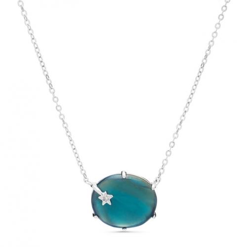 Naszyjnik z błękitnego kwarcu i cyrkonią