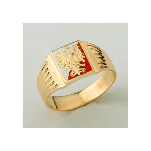 Sygnet złoty z Orłem Piastowskim na biało-czerwonym tle