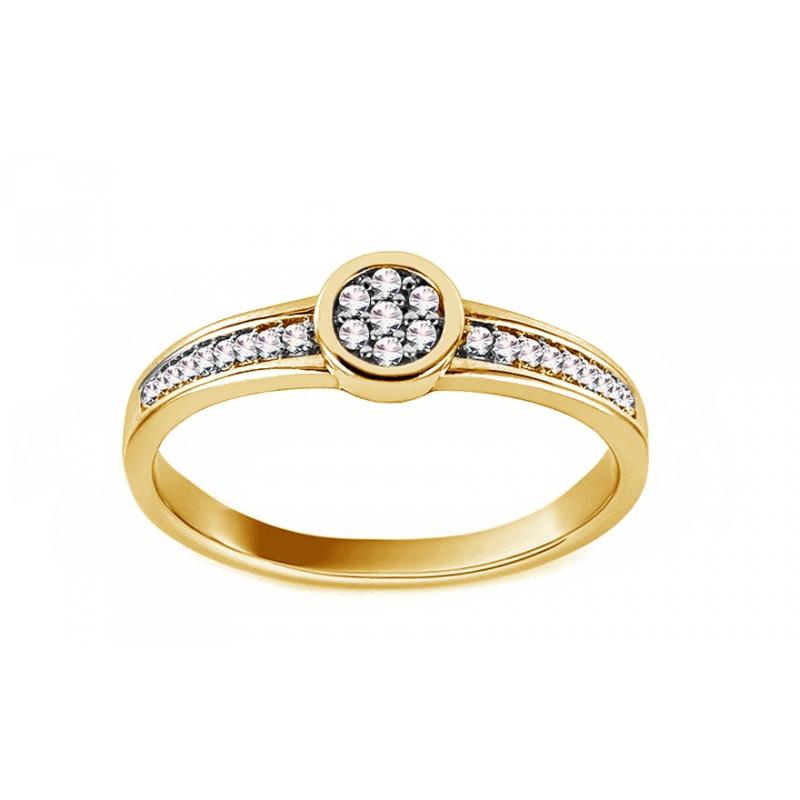 Pierścionek z diamentami w żółtym złocie