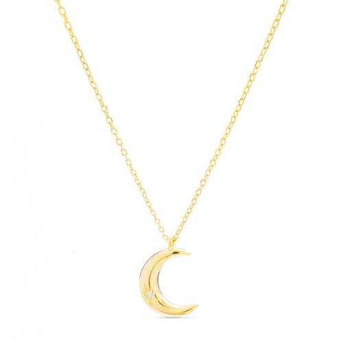 Naszyjnik - księżyc pozłacany z cyrkonią