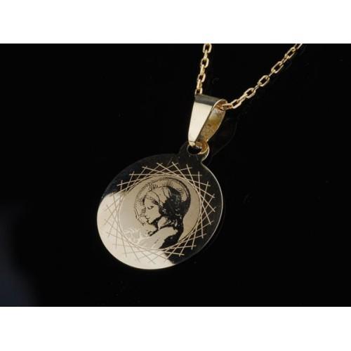 Medalik złoty z Maryją i Jezuskiem