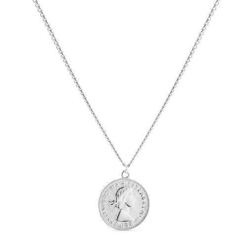 Naszyjnik srebrny z motywem monety