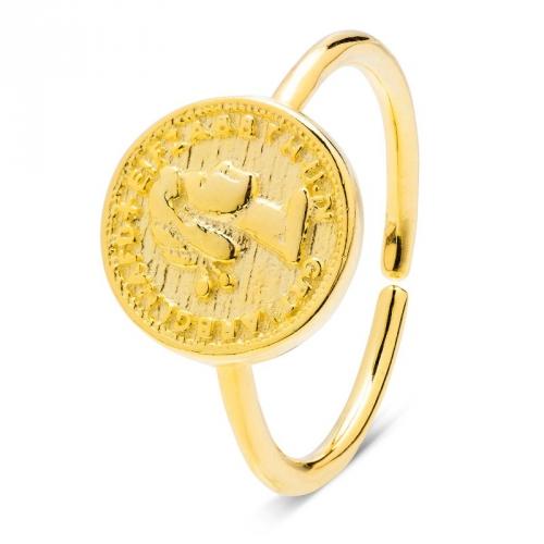 Pierścionek pozłacany z motywem monety
