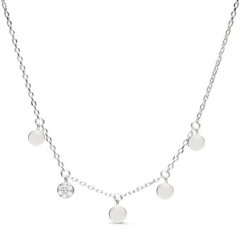 Naszyjnik srebrny z białymi cyrkoniami