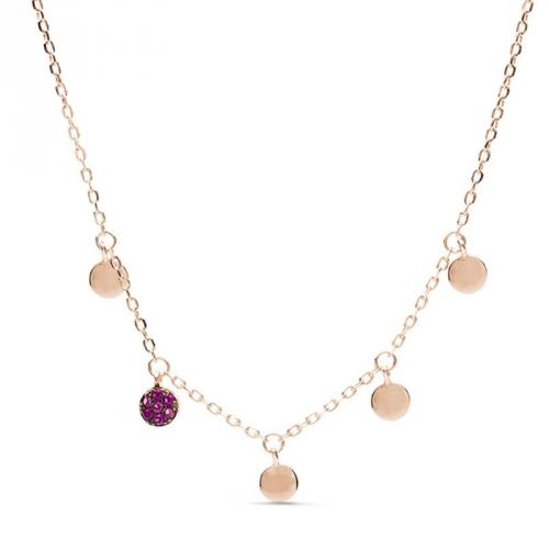 Naszyjnik pozłacany różowym złotem z rubinowymi cyrkoniami