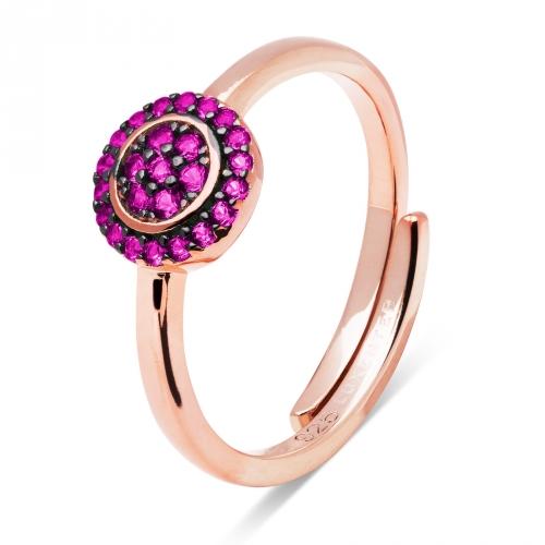 Pierścionek pozłacany różowym złotem z rubinowymi cyrkoniami