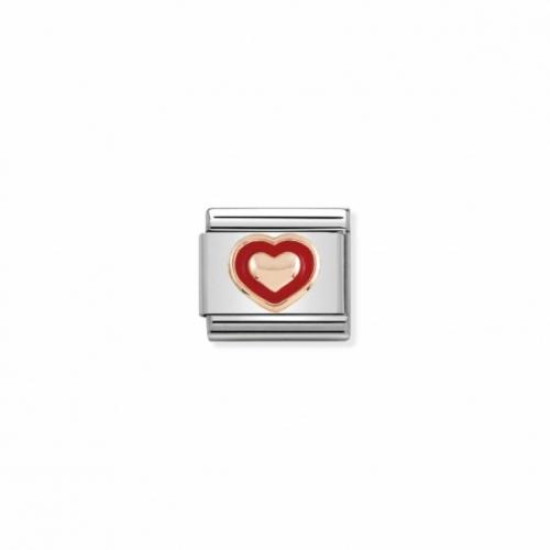 Link NOMINATION czerwone serce z różowego 9K złota