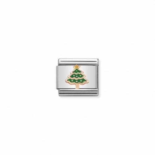 Link NOMINATION zielona choinka z różowego 9K złota
