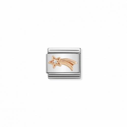 Link NOMINATION gwiazdka z różowego złota i mała cyrkonią