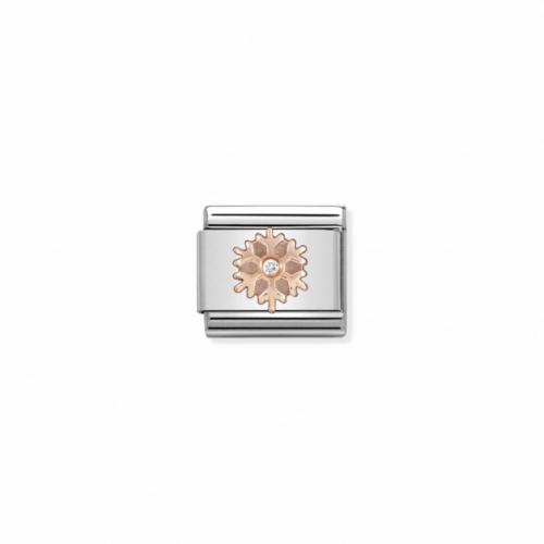 Link NOMINATION śnieżynka z różowego złota i cyrkonią