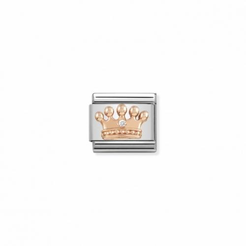 Link NOMINATION korona z różowego złota i cyrkonią