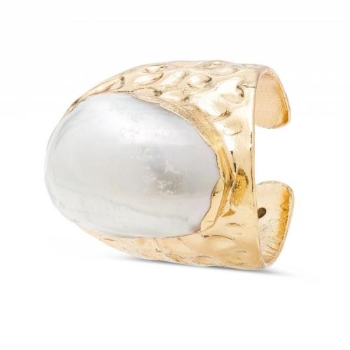 Pierścionek pozłacany z perłą