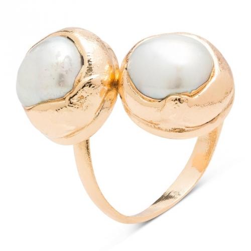 Pierścionek pozłacany z perłami