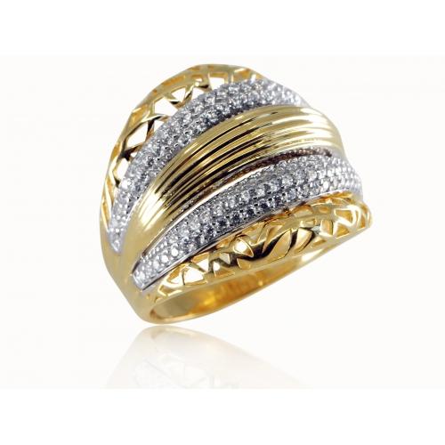 Złoty pierścionek z kryształami Swarovskiego