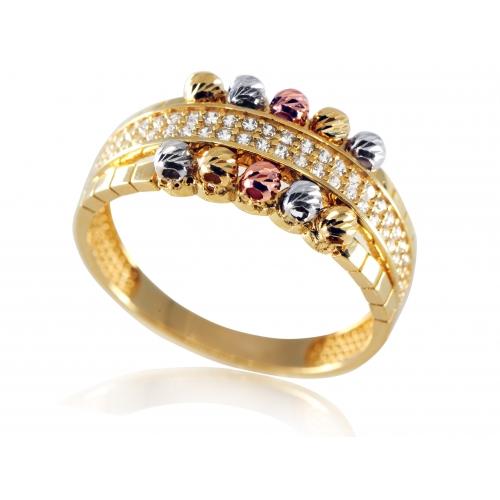 Złoty pierścionek trójkolorowe złoto i cyrkonie