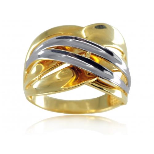 Złoty pierścionek z dwukolorowego złota