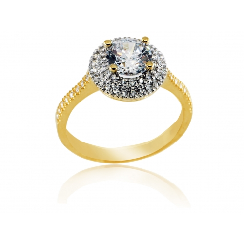 Złoty pierścionek z cyrkonią Swarovskiego