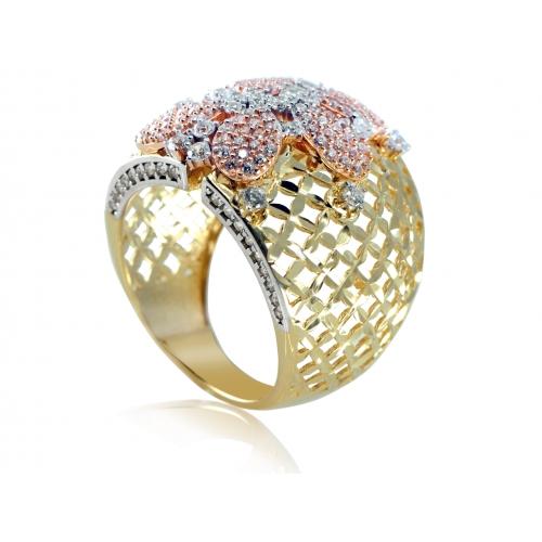 Złoty pierścionek ażurowy z cyrkoniami