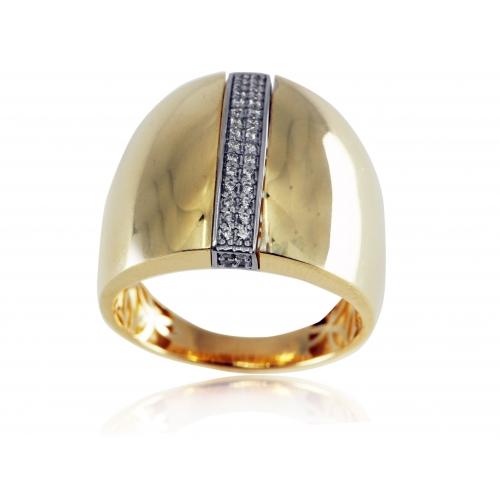 Złoty pierścionek gładki z cyrkoniami