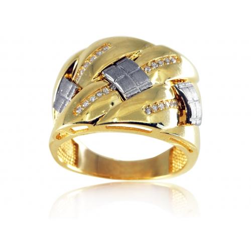 Złoty pierścionek z cyrkoniami i białym złotem