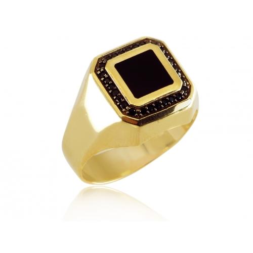 Złoty pierścionek męski sygnet