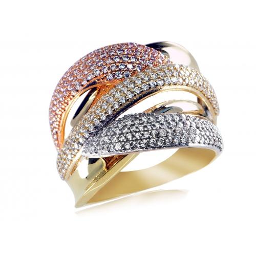 Złoty pierścionek trójkolorowy z cyrkoniami
