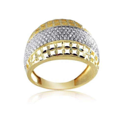 Złoty pierścionek ażurowy zdobiony cyrkoniami