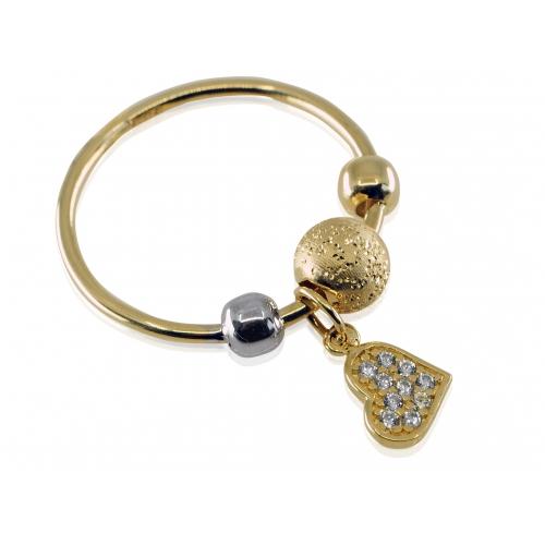 Złoty pierścionek z serduszkiem i kulkami