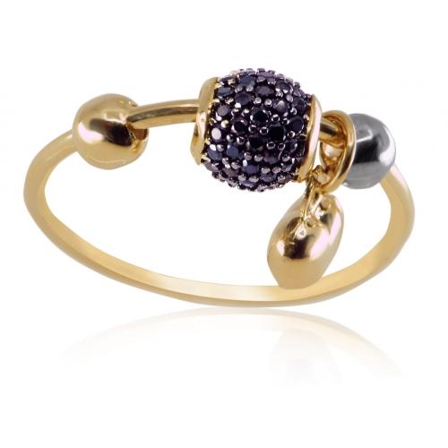Złoty pierścionek z serduszkiem i kulką z niebieskimi kryształkami