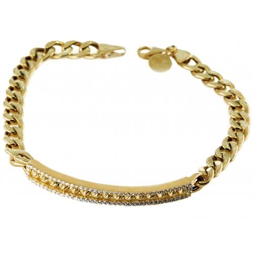 Bransoletka złota diamentowana blaszka