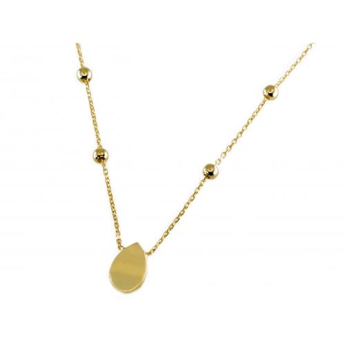 Złoty naszyjnik ze złotymi kuleczkami i łezką